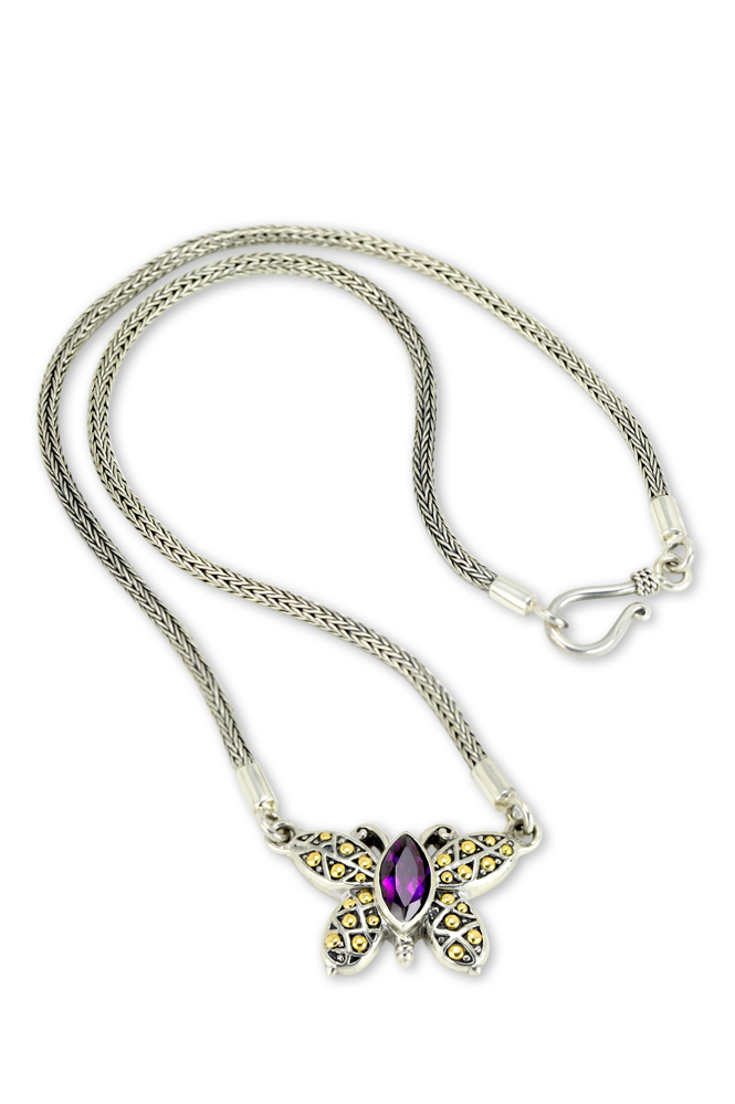 Sterling Silver Amethyst Butterfly Necklace with 18K Gold Accents