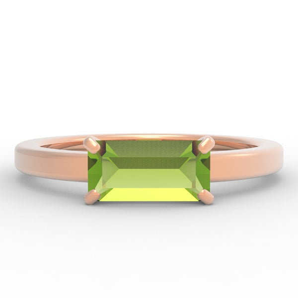 Peridot Baguette 14K Rose Gold Ring