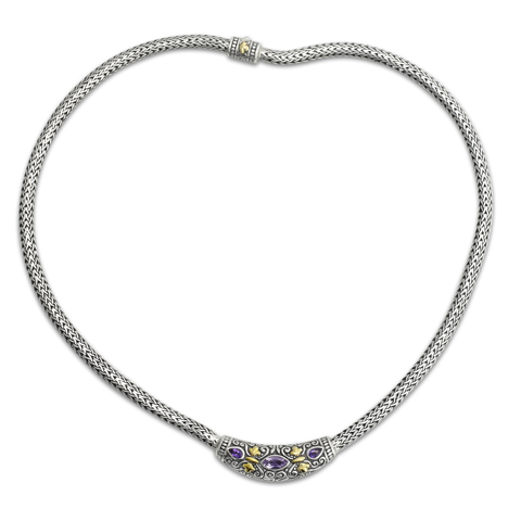 Amethyst Sterling Silver Woven Necklace with 18K Gold Accents