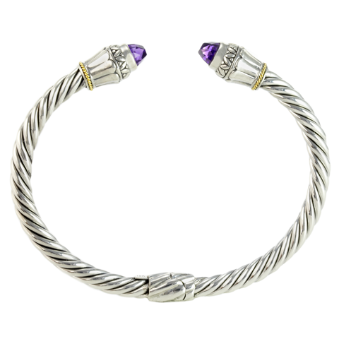 Amethyst Twisted Cable Bangle Set in Sterling Silver & 18K Gold Accents