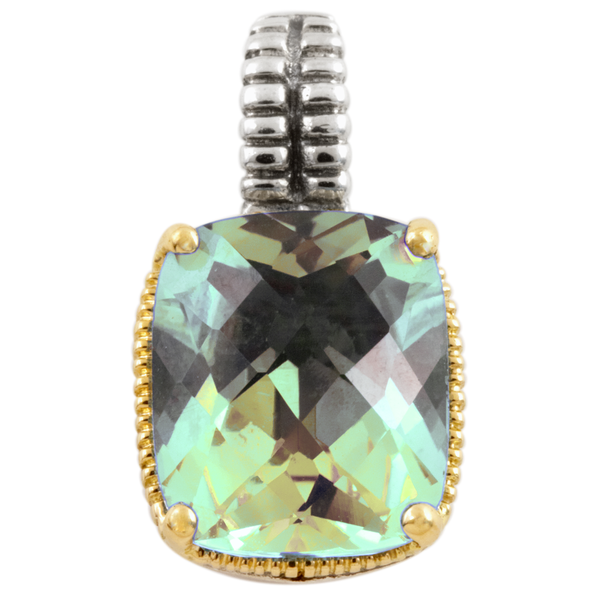 Green Amethyst Sterling Silver Pendant with 18K Gold Accents