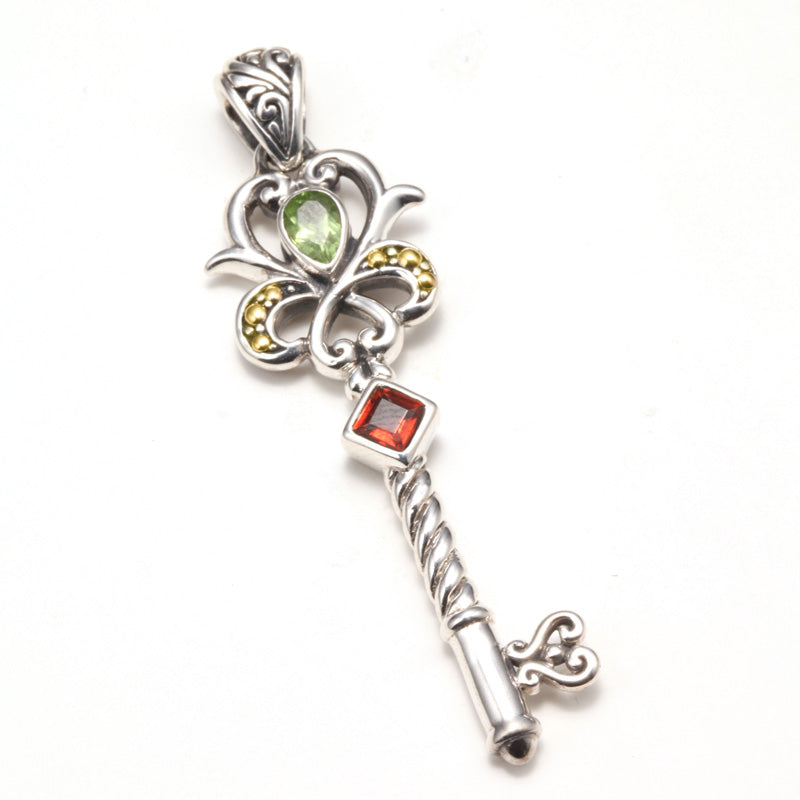 Peridot & Garnet Key Pendant Set in Silver and Yellow Gold Accents
