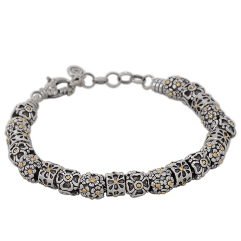 Sterling Silver Floral Charm Bracelet with 18K Gold Accents