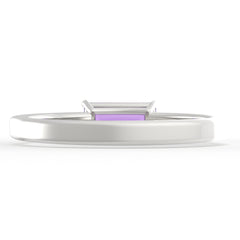 Amethyst Baguette Sterling Silver Ring