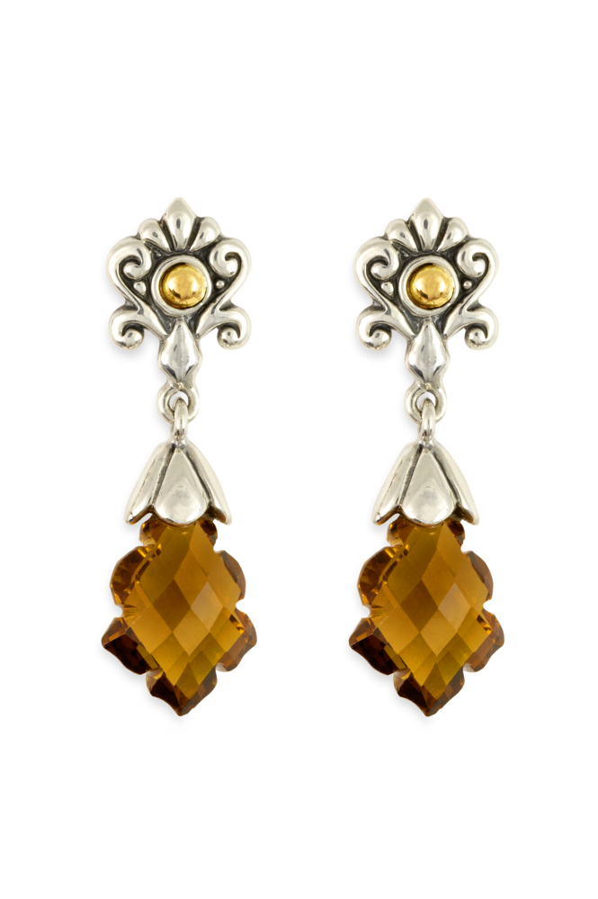 Smokey Quartz Earrings Set in Silver & Yellow Gold Accents