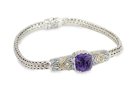 Carved Amethyst Sterling Silver Woven Bracelet with 18K Gold Accents