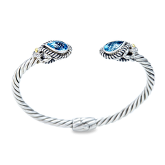 Sterling Silver Blue Topaz Twisted Cable Bangle with 18K Gold Accents