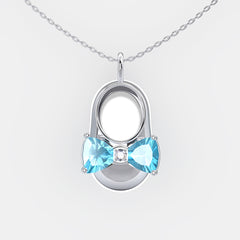 14K White Gold Diamond and Blue Topaz Baby Shoe Pendant