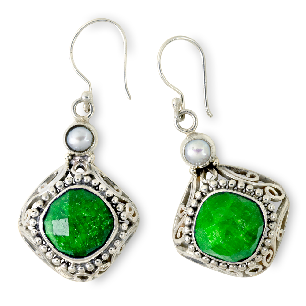 Emerald and Freshwater Pearl Sterling Silver Earrings