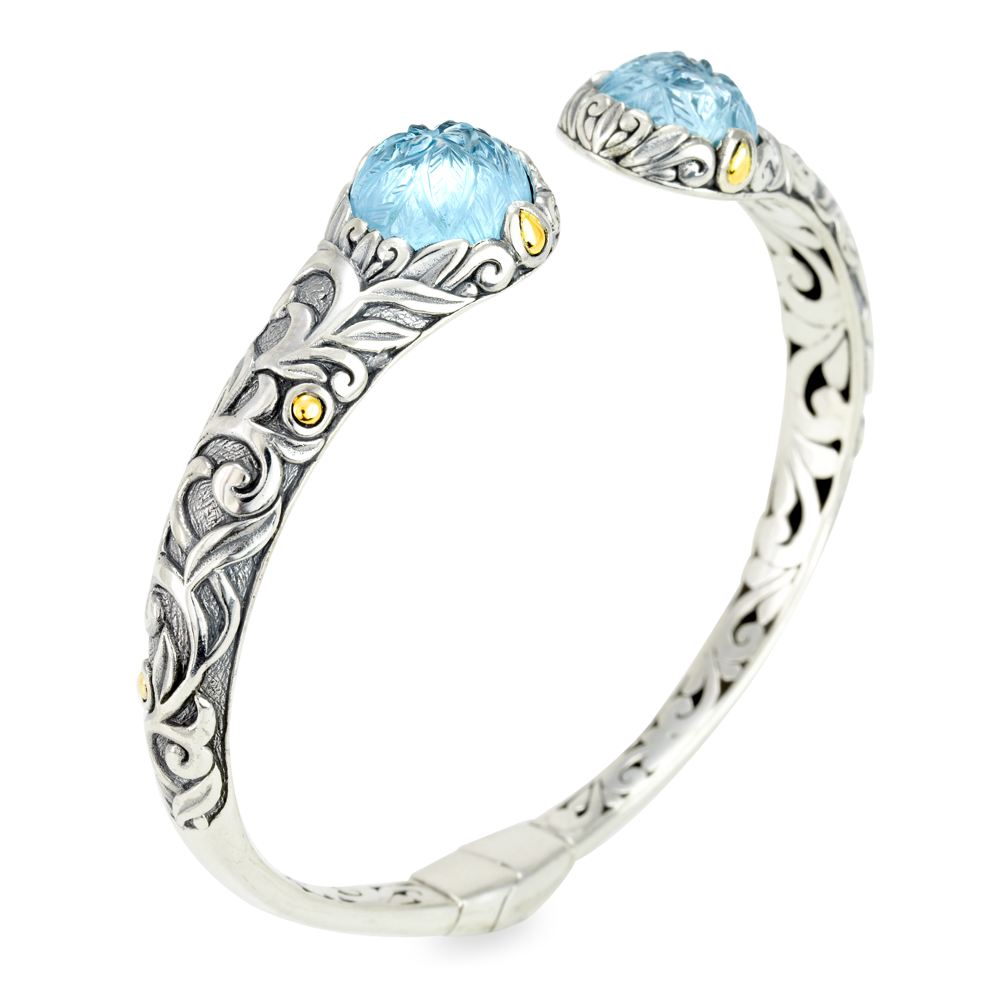Carved Blue Topaz Sterling Silver Bangle with 18K Gold Accents