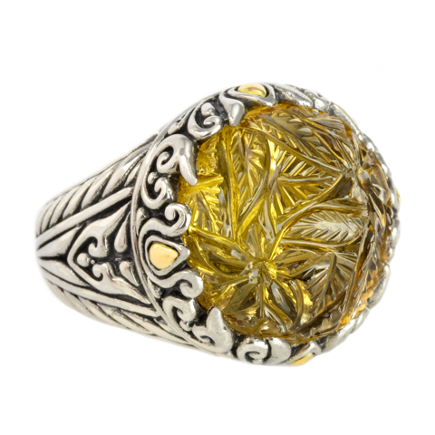 Carved Citrine Sterling Silver Ring with 18K Gold Accents