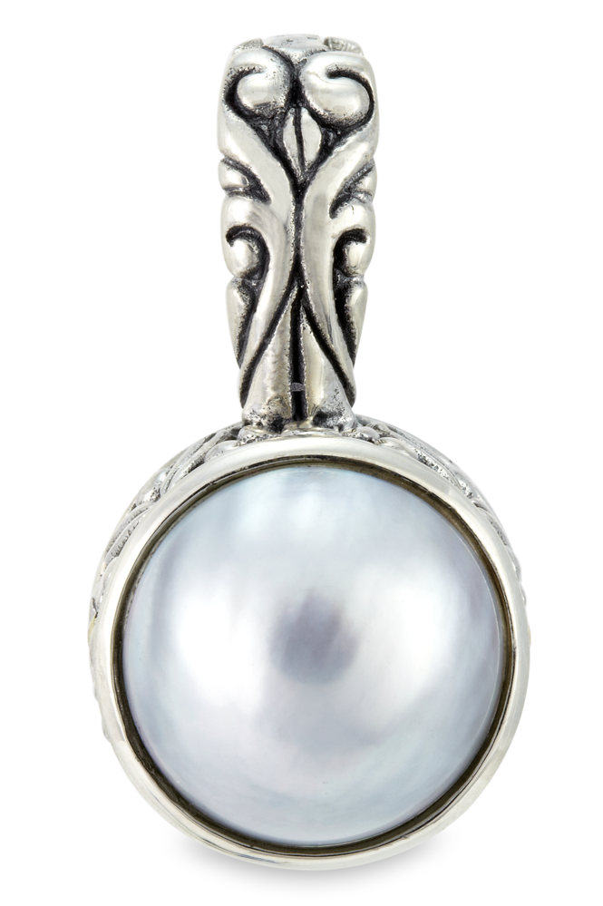 Gray Mabe Pearl Pendant Set in Sterling Silver & 18K Gold Accents
