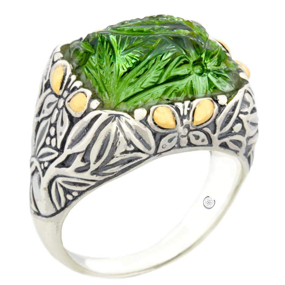 "Carved Green Flourite Sterling Silver Ring with 18K Gold Accents ""Gwen"""