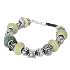 Colored Glass Bead Sterling Silver and Leather Bracelet