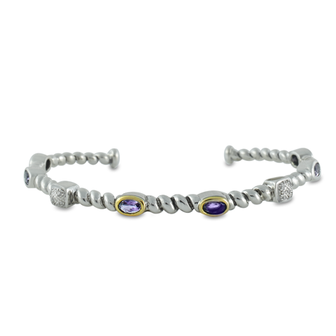 Diamond and Amethyst Sterling Silver Bangle with 14K Gold Accents