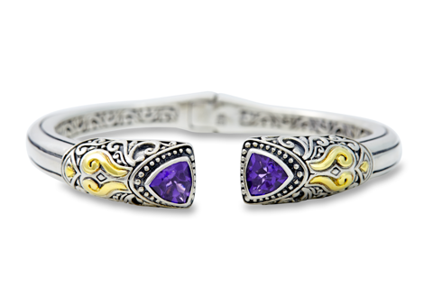 Amethyst Bangle Set in Sterling Silver & 18K Gold Accents