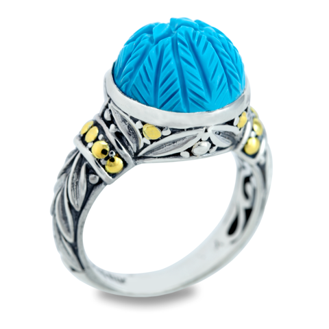 "Carved Turquoise Ring Set in Sterling Silver & 18K Gold Accents ""Christina"""