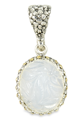 Carved White Agate Sterling Silver Pendant with 18K Gold Accents