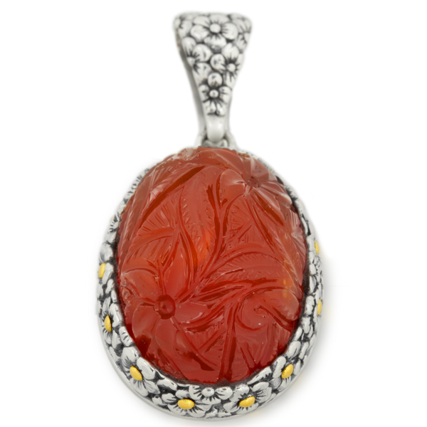 Carved Carnelian Sterling Silver Pendant with 18K Gold Accents