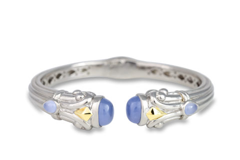 Chalcedony Sterling Silver Bangle with 18K Gold Accents