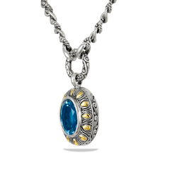 Blue Topaz Sterling Silver and 18K Gold Accent Necklace
