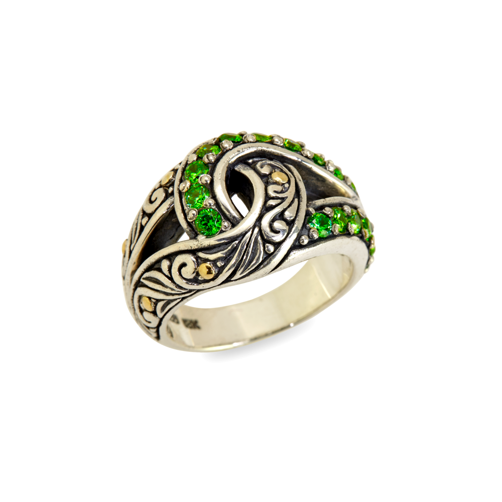 "Tsavorite Sterling Silver ""Infinity Knot"" Ring with 18K Gold Accents"