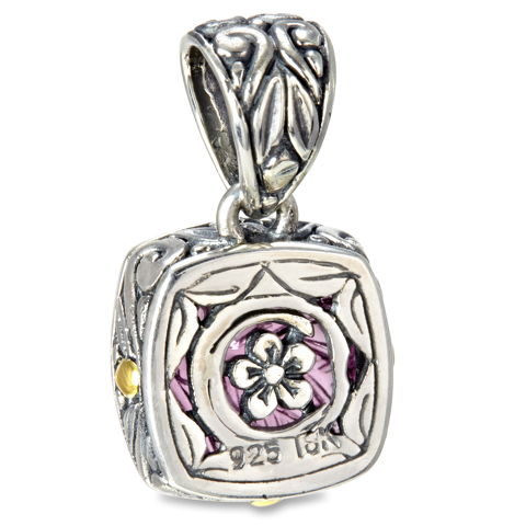 Carved Purple Quartz Sterling Silver Pendant with 18K Gold Accents