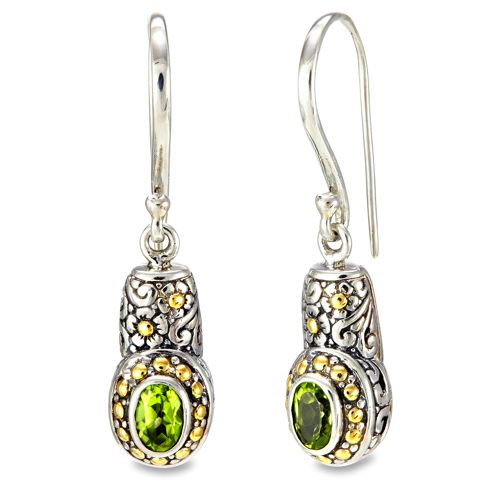 Peridot Sterling Silver Drop Earrings with 18K Gold Accents