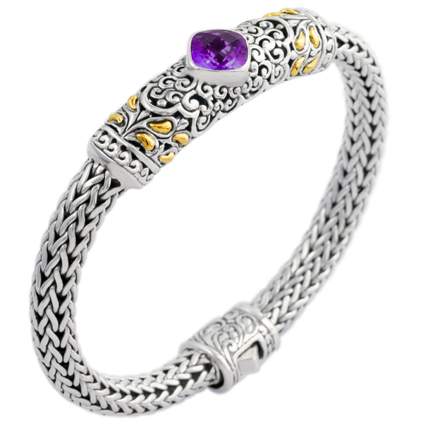 Amethyst Woven Sterling Silver Bracelet with 18K Gold Accents