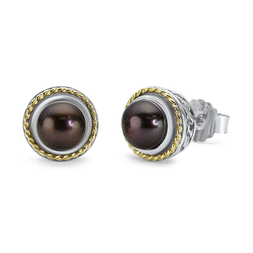 Black Pearl Sterling Silver Earrings with 18K Gold Accents