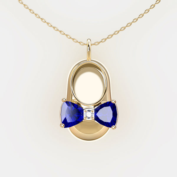 14K Yellow Gold Diamond and Blue Sapphire Baby Shoe Pendant