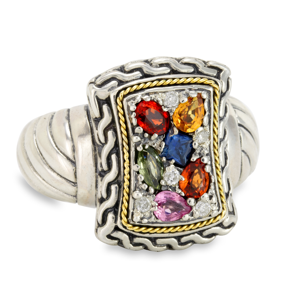 Multi Sapphire Ring with 18K Gold Accents