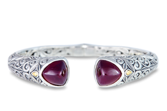 Trillion Cabochon Ruby Bangle Set in Sterling Silver & 18K Gold Accents
