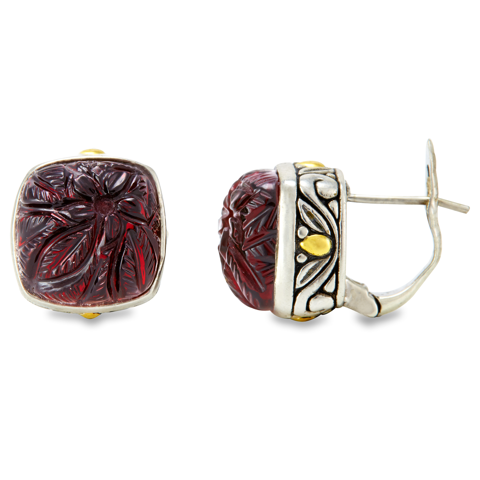 Carved Garnet Sterling Silver Earrings with 18K Gold Accents