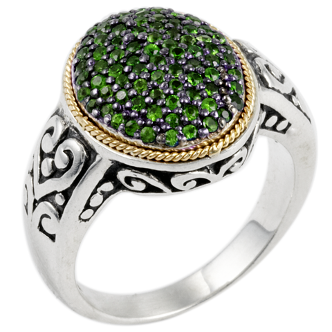 Emerald Sterling Silver Ring with 18K Gold Accents