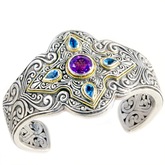 Amethyst and Blue Topaz Sterling Silver Cuff Bangle with 18K Gold Accents