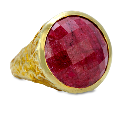 Ruby Sterling Silver Ring with Gold Vermeil