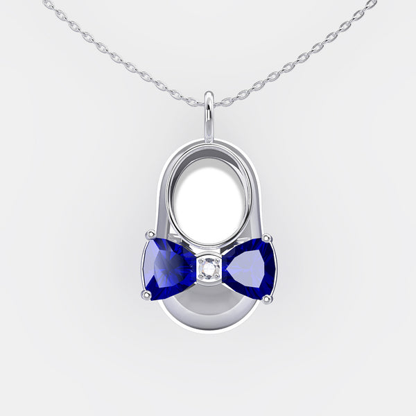 14K White Gold Diamond and Blue Sapphire Baby Shoe Pendant