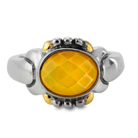 Citrine Sterling Silver Ring with 14K Gold Accents