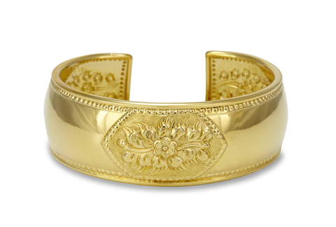 Gold Plated Sterling Silver Cuff Bangle