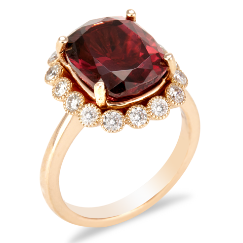 "14K Rose Gold Diamond and Raspberry Rhodolite Ring ""Cheryl"""