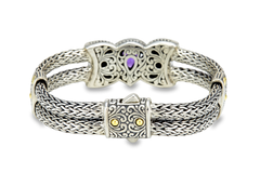 Sterling Silver Amethyst Woven Bracelet with 18K Gold Accents