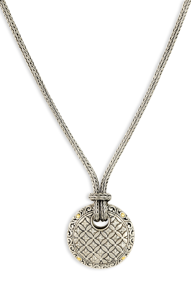 Diamond Necklace Set in Sterling Silver & 18K Gold Accents