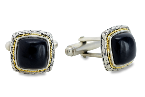 Black Onyx Sterling Silver Cufflinks with 18K Gold Accents