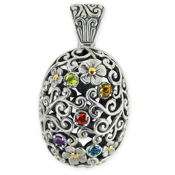 Multi Gemstone Sterling Silver Pendant with 18K Gold Accents