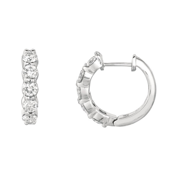 14K White Gold Small Hoop Earrings with Diamond
