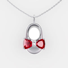 14K White Gold Diamond and Ruby Baby Shoe Pendant