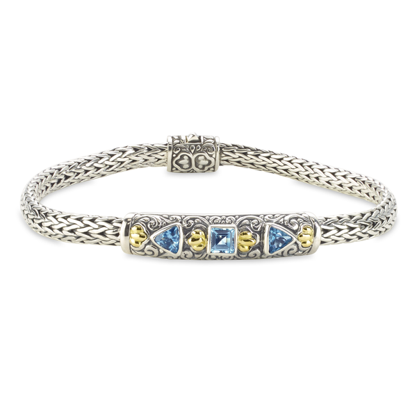 Blue Topaz Sterling Silver Woven Bracelet with 18K Gold Accents