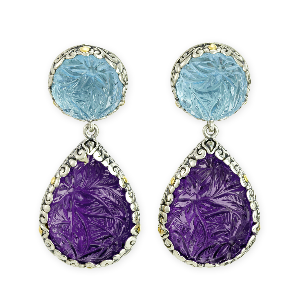 "Carved Blue Topaz & Amethyst Earrings Set in Sterling Silver & 18K Gold Accents ""Debbie"""