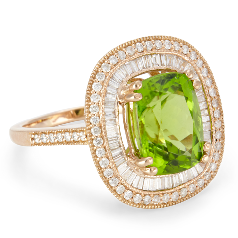 "14K Rose Gold Diamond and Peridot Ring ""Remi"""